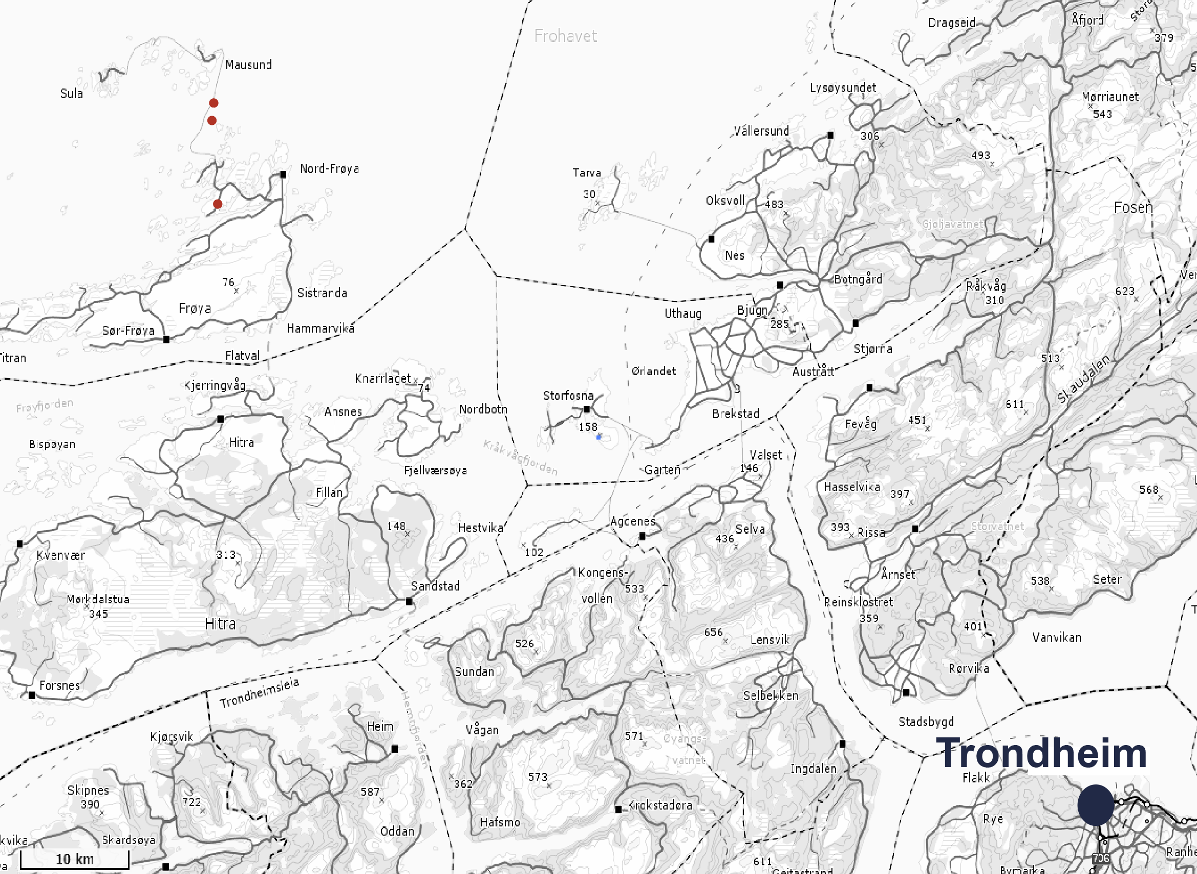 Map of locations of norcod cod farms in Trondheim, Norway